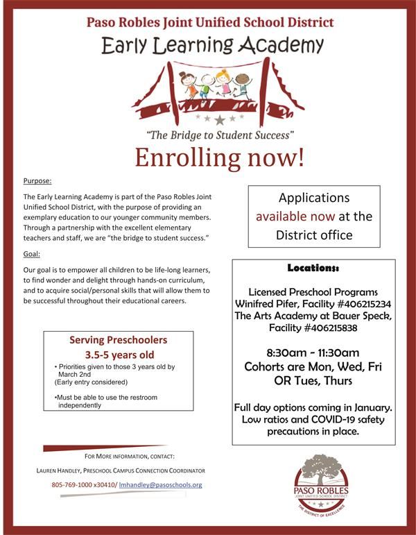 Now Accepting Applications for the Early Learning Academy